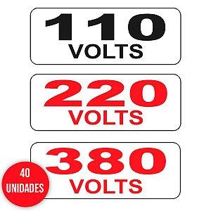 Kit Cartela 40 Etiquetas de Identificação de Voltagem 110V, 220V ou 380V