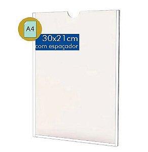 DIsplay Porta Folha A4 em acrílico - Com Filete Espaçador