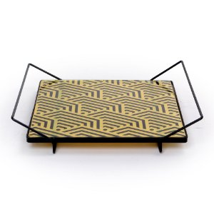 Bandeja de ferro e vidro geometrica
