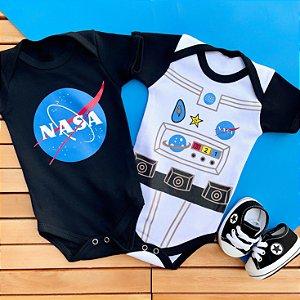Kit 2 Body Bebê Astronauta com Tênis Preto