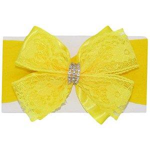 Faixa de Cabelo Renda Amarela