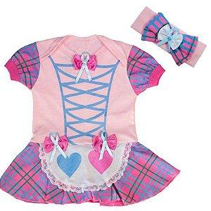 Body Vestido Bebê Luxo Festa Junina Caipirinha com Faixa de Cabelo Rosa