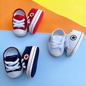 Kit 3 Tênis Bebê Estrelinha Vermelho, Branco e Azul Marinho