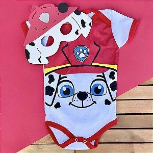 Kit Body Bebê Marshall Patrulha Canina com Máscara