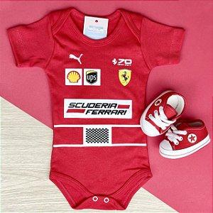Kit Body Bebê Fórmula 1 Scuderia Ferrari Vettel Raikkonen Race e Tênis Vermelho