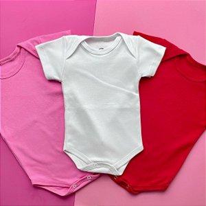 Kit 3 Body Bebê Basico Manga Curta Rosa Branco Vermelho
