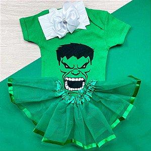Kit Body Bebê Luxo Tule Hulk Rostinho Menina