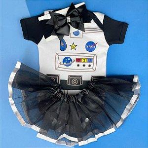 Kit Body Bebê Luxo Tule Astronauta
