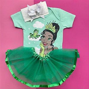Kit Body Bebê Luxo Tule Princesa Tiana