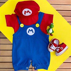 Kit Jardineira Bebê Luxo Mario Bros com Boina e Tênis Vermelho