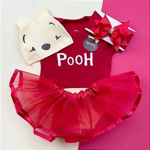 Kit Body Bebê Luxo Tule Ursinho Pooh Menina