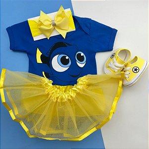 Kit Body Bebê Luxo Procurando Nemo Dory com Tênis Amarelo