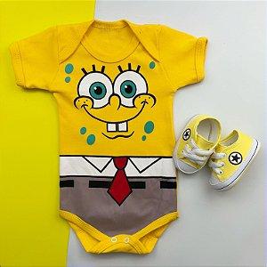 Kit Body Bebê Bob Esponja e Tênis Estrelinha Amarelo