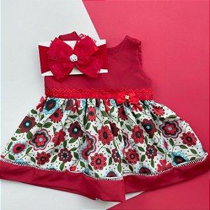 Vestido Floral Vermelho com Faixa de Cabelo