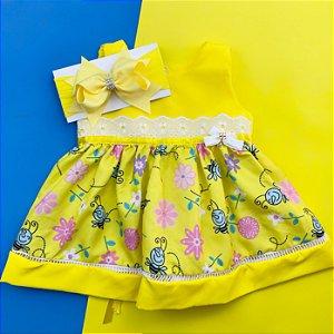 Vestido Floral Amarelo com Faixa de Cabelo