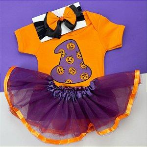 Kit Body Bebê Luxo Tule Halloween Bruxinha