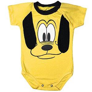 Body Manga Curta Bebê Luxo Cachorro Pluto