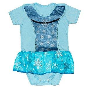 Body Manga Curta Vestido Bebê Luxo Elsa Frozen