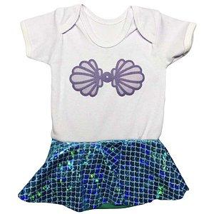 Body Manga Curta Vestido Bebê Luxo Sereia Ariel