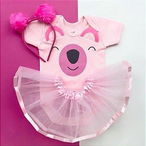 Kit Body Bebê Luxo Tule Coala Pink
