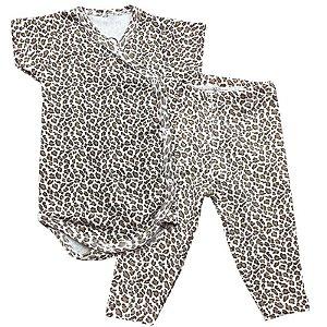 Conjunto Bebê Suedine Body Kimono e Calça Oncinha