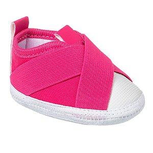 Tênis Bebê Slip On Elástico Rosa Pink