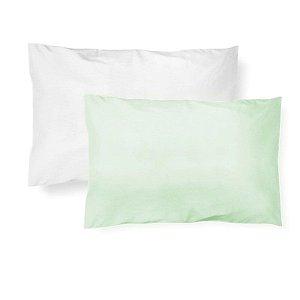 Kit 2 Fronhas Malha Verde e Branca
