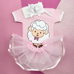Kit Body Bebê Luxo Tule Ovelha Rosa
