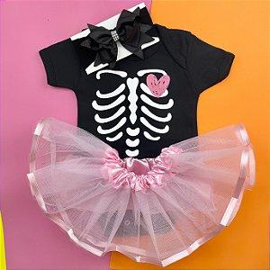 Kit Body Bebê Luxo Tule Halloween Esqueleto Rosa