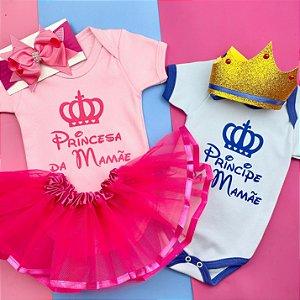 Kit Body Bebê Gêmeos Princesa e Principe da Mamãe