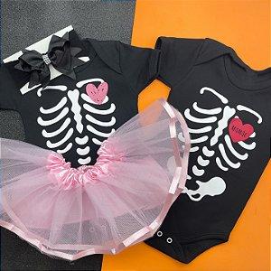 Kit Body Bebê Gêmeos Halloween Esqueleto