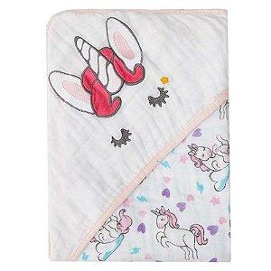 Toalha de Banho com Capuz Soft Bordada Unicórnio