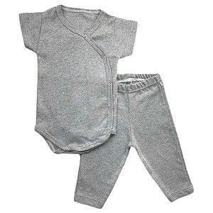 Conjunto Bebê Suedine Body Kimono e Calça Cinza Mescla