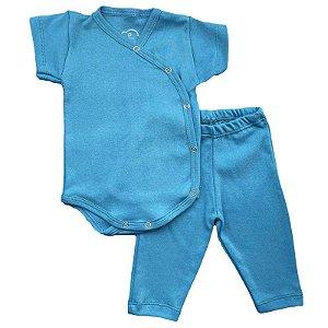 Conjunto Bebê Suedine Body Kimono e Calça Azul Petróleo