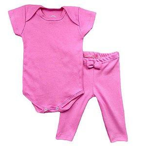 Conjunto Bebê Body Básico e Calça Rosa