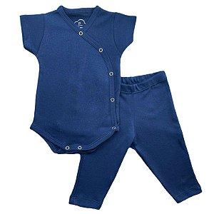 Conjunto Bebê Suedine Body Kimono e Calça Azul Marinho