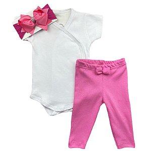 Conjunto Bebê Suedine Body Kimono e Calça Branco e Rosa