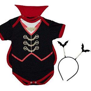 Body Bebê Luxo Haloween Conde Drácula com Capinha e Tiara