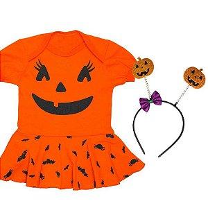 Body Bebê Vestido Halloween Abobóra com Tiara