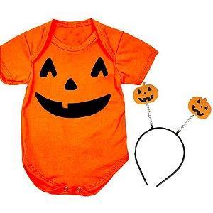 Body Bebê Halloween Abobora com Tiara