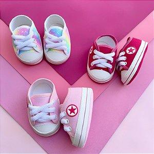 Kit 3 Tênis Bebê Estrelinha Rosa e Tie Dye
