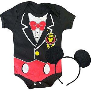Kit Body Bebê Mickey Smoking com Tiara Orelhinhas