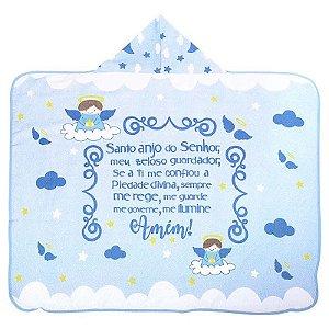 Toalha de Banho com Capuz Forrada Anjinho da Guarda Azul
