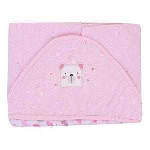 Toalha de Banho com Capuz Plush Forrada Rosa
