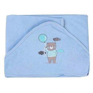 Toalha de Banho com Capuz Plush Forrada Azul