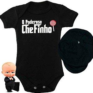 Kit Body Bebê O Poderoso Chefinho Terninho com Boina