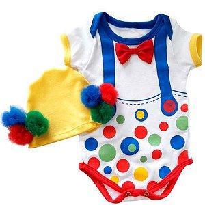 Kit Body Bebê Palhacinho com Touquinha Pompom