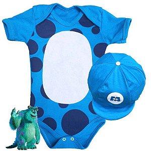 Kit Body Bebê Sulley Monstros SA com Boina