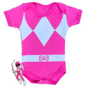 Body Bebê Power Rangers Rosa