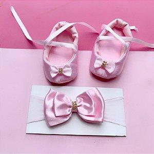 Sapatilha Bebê Laço com Faixa de Cabelo Rosa Claro